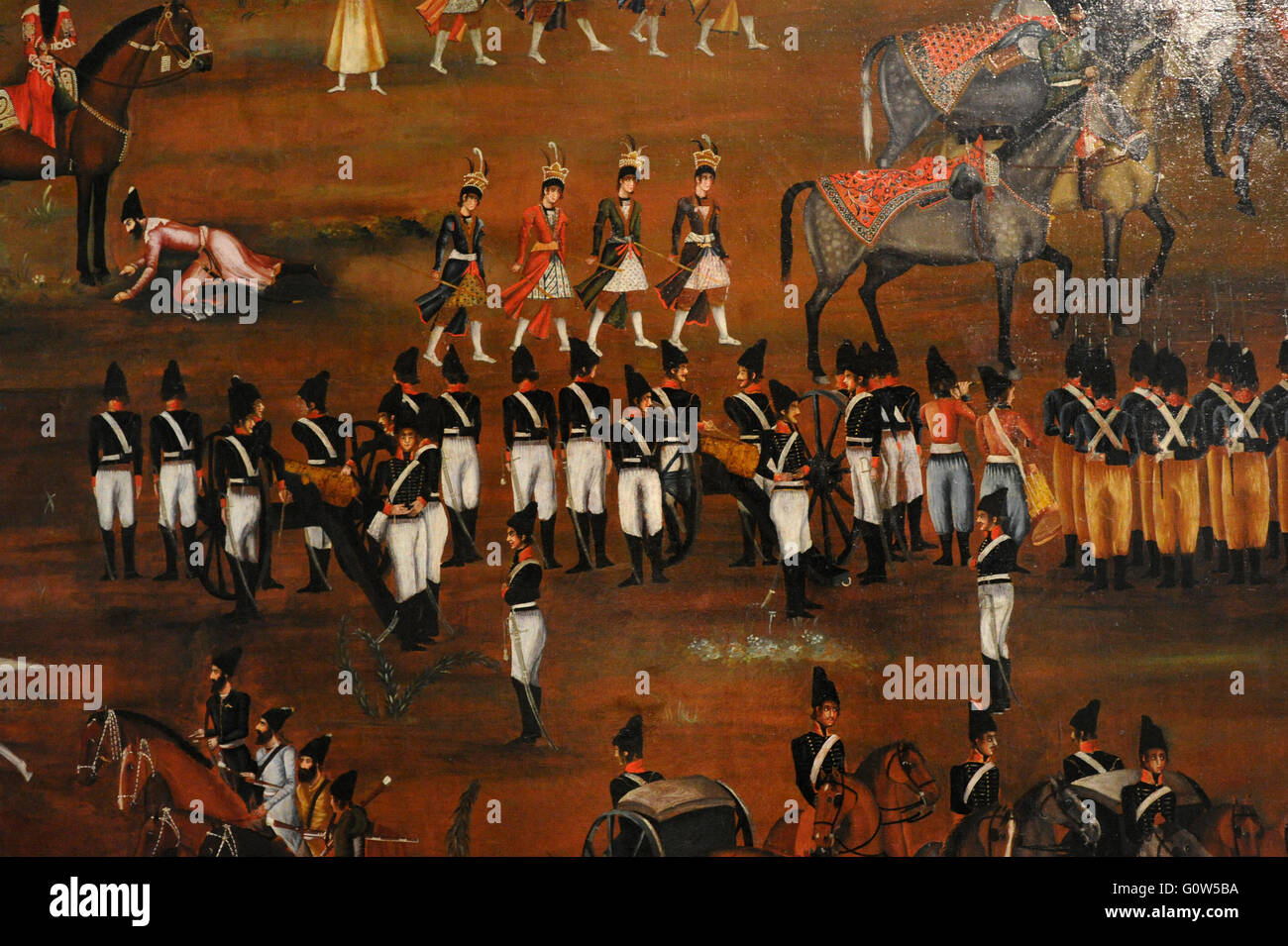 Unknown artist. Review of the Presian army by Fath 'Ali Shah. Iran, Ca. 1815-1816. Oil on canvas.  The State - Stock Image