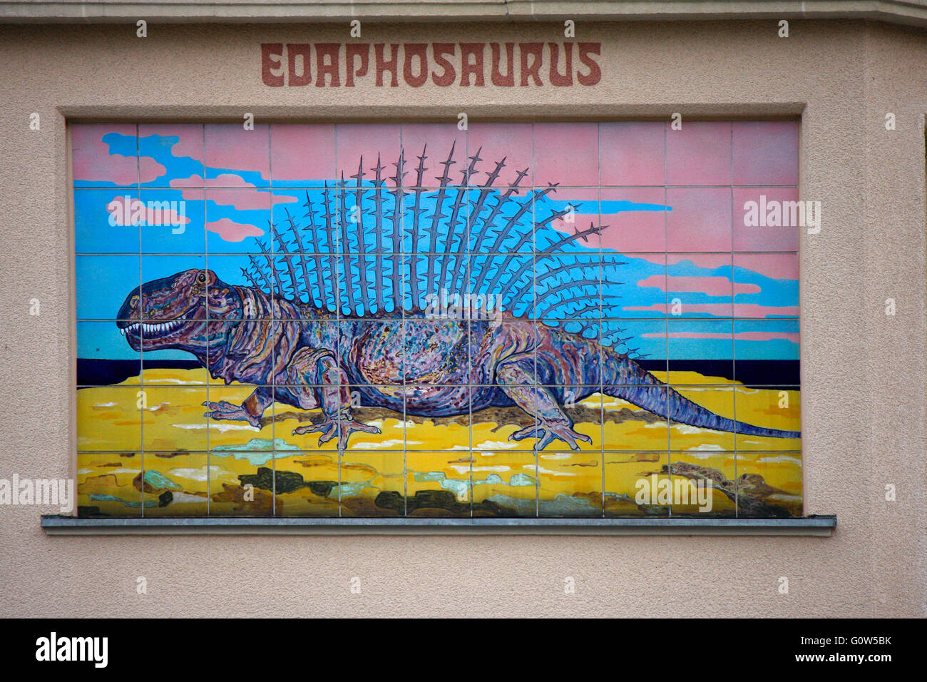 Darstellung eines Edaphosaurus, Berliner Zoo, Berlin. - Stock Image