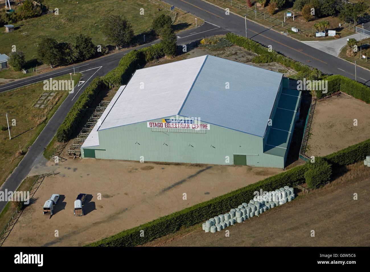 Otago Equestrian Centre, near Mosgiel, Dunedin, Otago, South Island, New Zealand - aerial - Stock Image