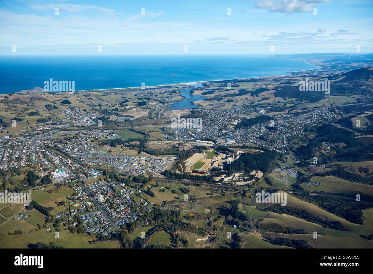 Suburbs of Abbotsford, Green Island and Fairfield, Dunedin, Otago, South Island, New Zealand - aerial - Stock Image
