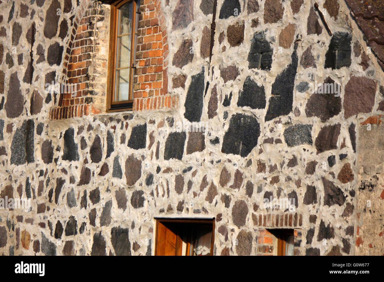 Hausfassade: Nationalpark Unteres Odertal/ Oderauen, Criewen, Brandenburg. - Stock Image