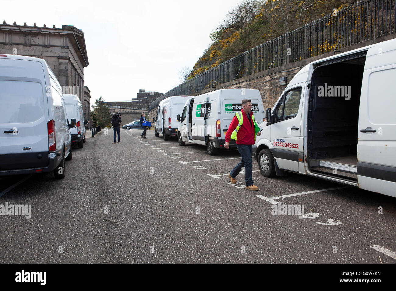 Edinburgh, Scotland UK. 4th May 2016. Ballot boxes to be used for voting in the Scottish Parliament Election are - Stock Image