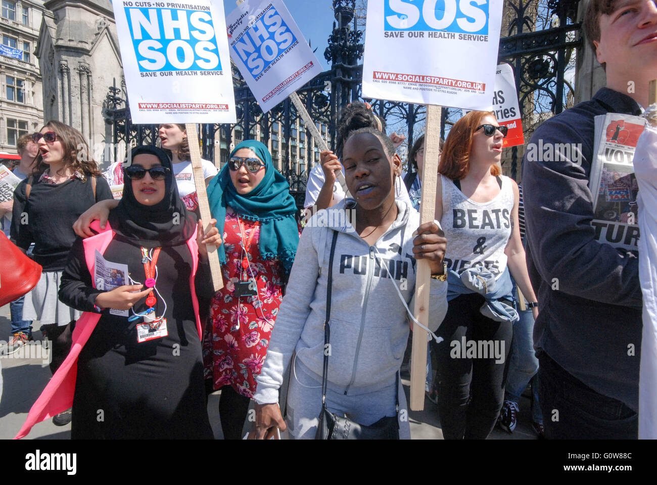 wednesday 4th of may , students nurses rally before parliement for the debate on bursries called by shadow health - Stock Image
