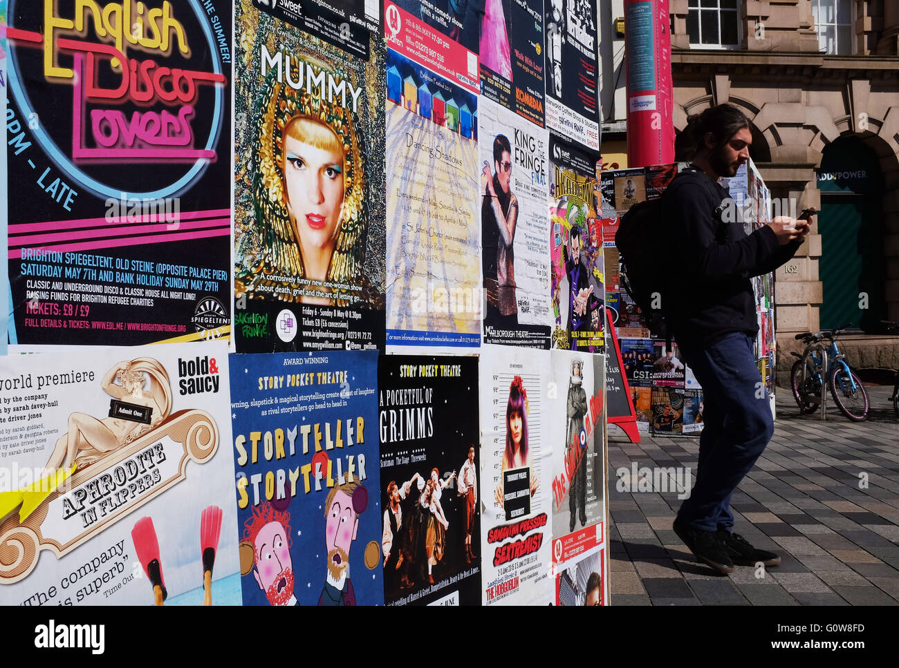 Brighton, UK. 4th May, 2016. Posters advertising the various acts for Fringe City as the city prepares for the start - Stock Image