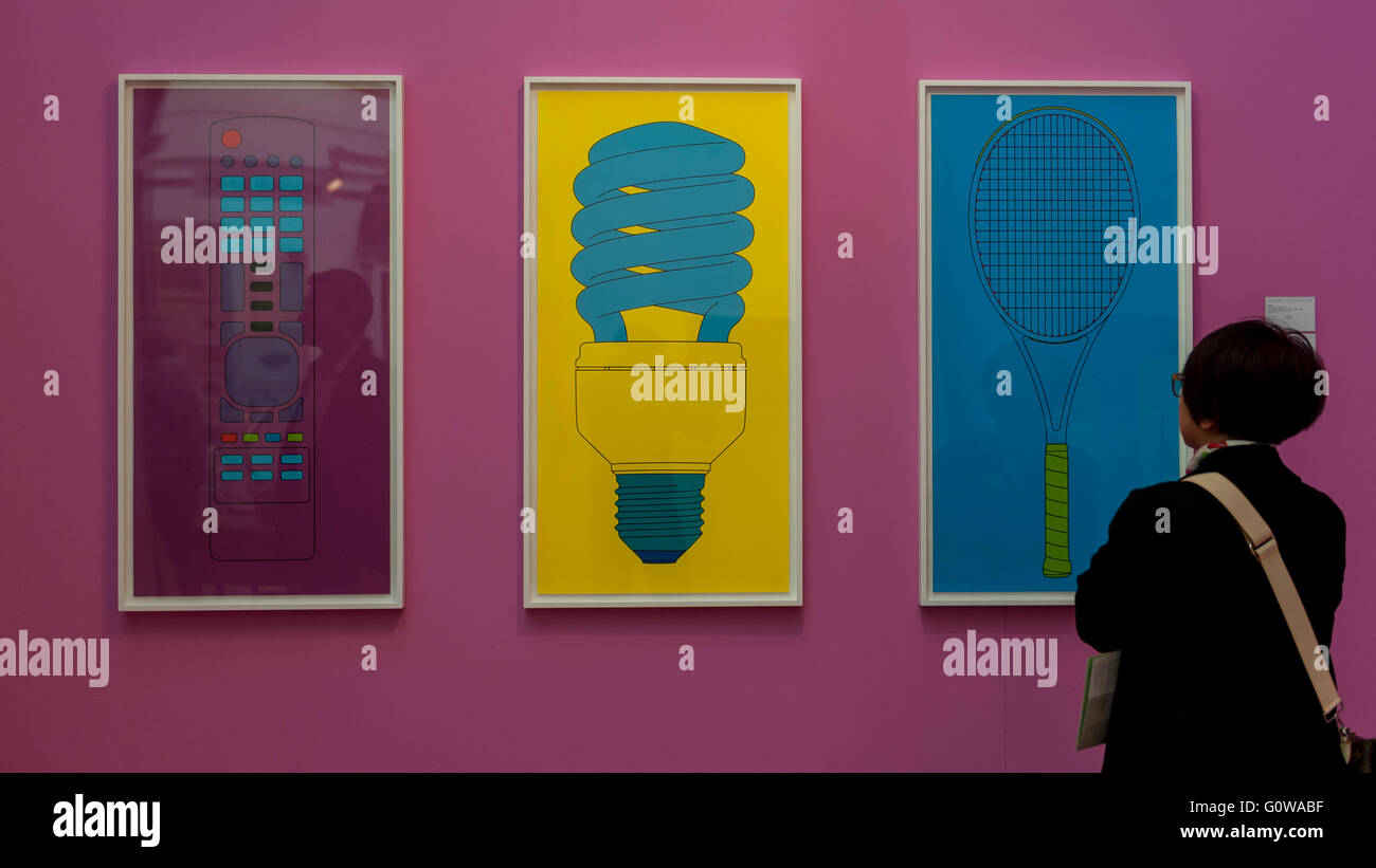 London, UK.  4 May 2016. A visitor views prints on display at the preview of The London Original Print Fair 2016, - Stock Image