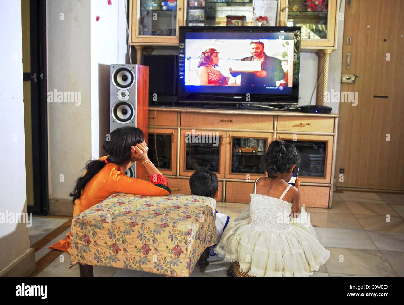 Indian family watching tv stock photos indian family - The living room mumbai maharashtra ...