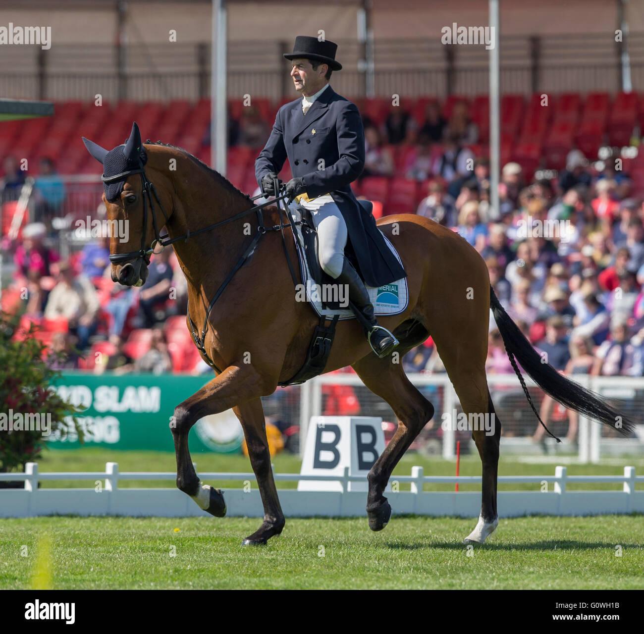Badminton House, Badminton, UK. 05th May, 2016. Mitsubishi Motors Badminton Horse Trials. Day Two. Jean Teulere - Stock Image