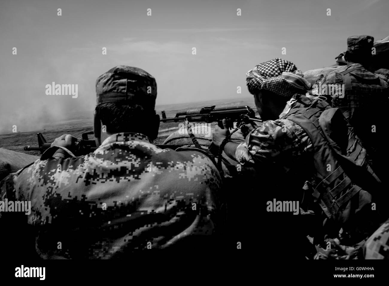 Kurdish Peshmerga forces repelled jihadist attacks on Abu Shita village -  03/05/2016  -  Iraq / Erbil / Abu Shita - Stock Image