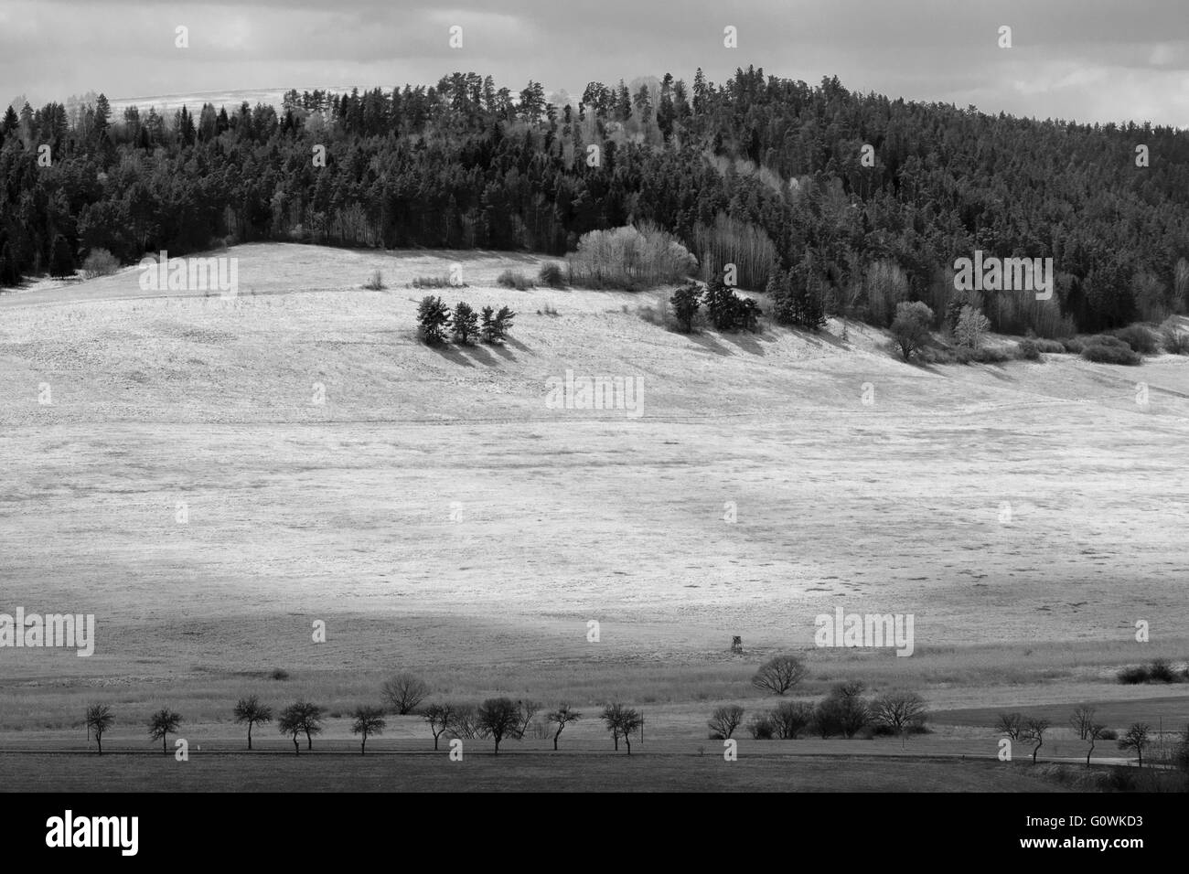 Dramatic Black and White Landscape. view from spis castle - Stock Image