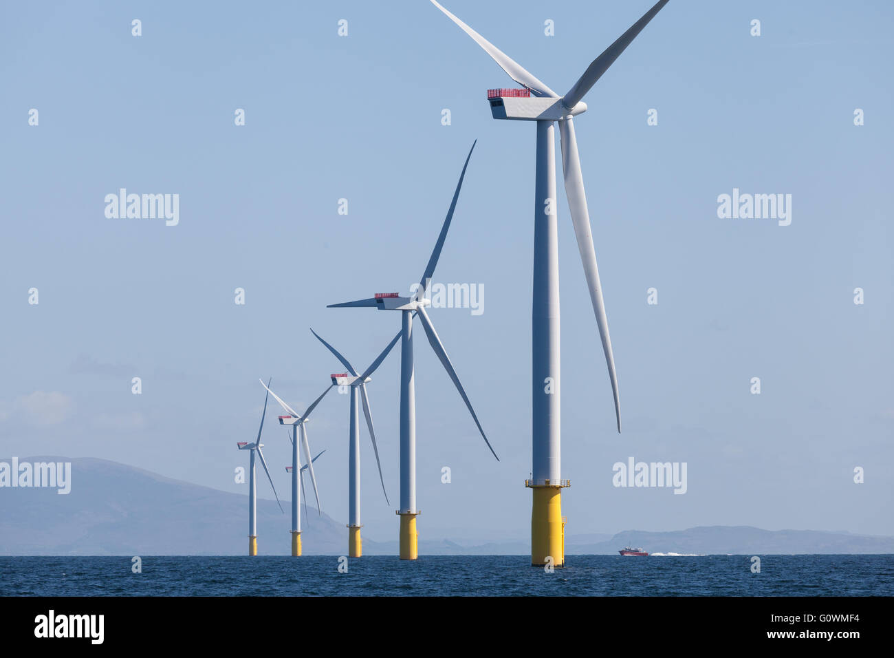 Walney Offshore Wind Farm off the Cumbrian Coast in the UK - Stock Image