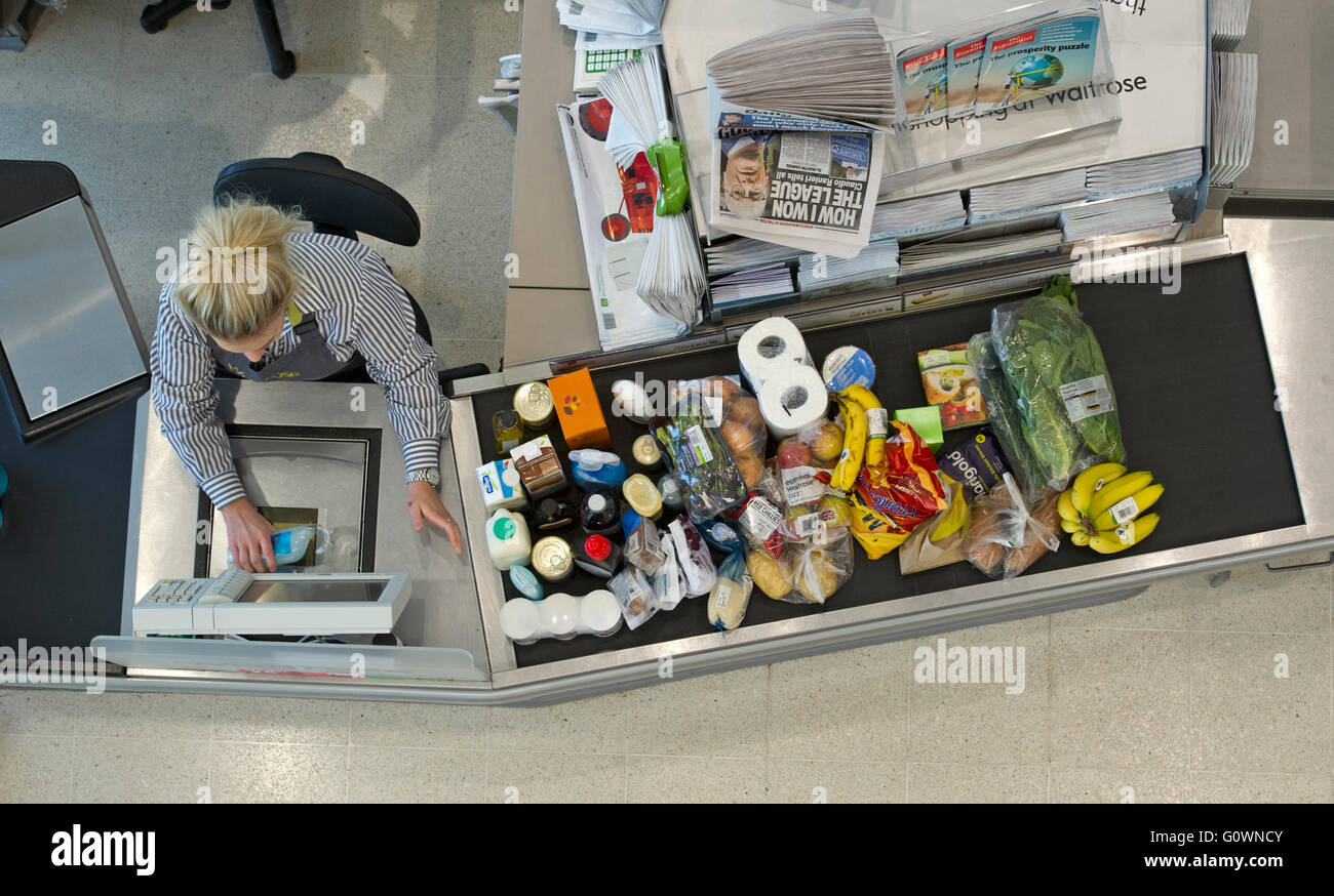 shopping being scanned at a waitrose store, England Britain - Stock Image