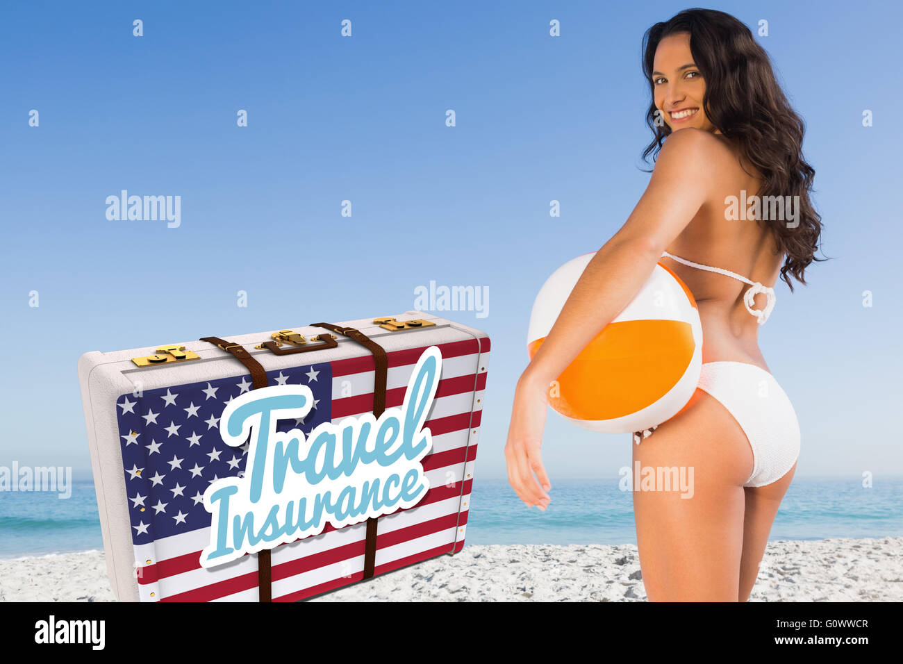 Composite image of travel insurance message on an american suitcase - Stock Image