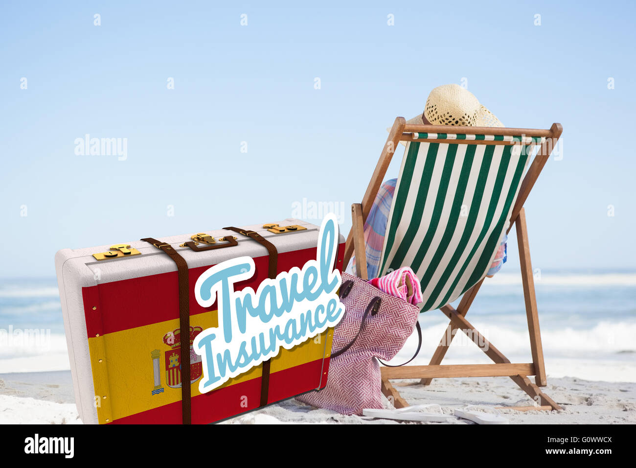 Composite image of travel insurance message on a spanish suitcase - Stock Image