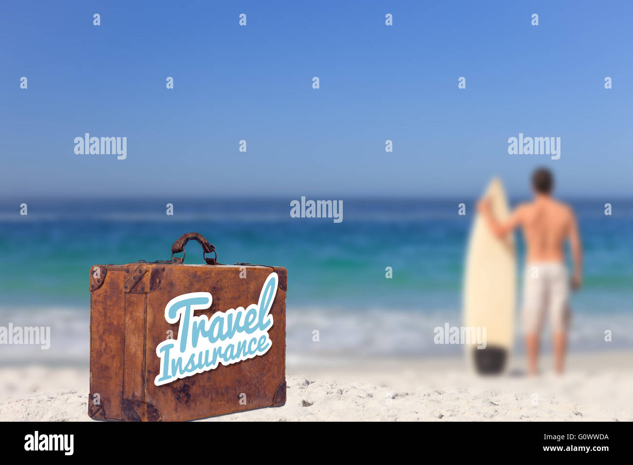 Composite image of travel insurance message on an old suitcase - Stock Image
