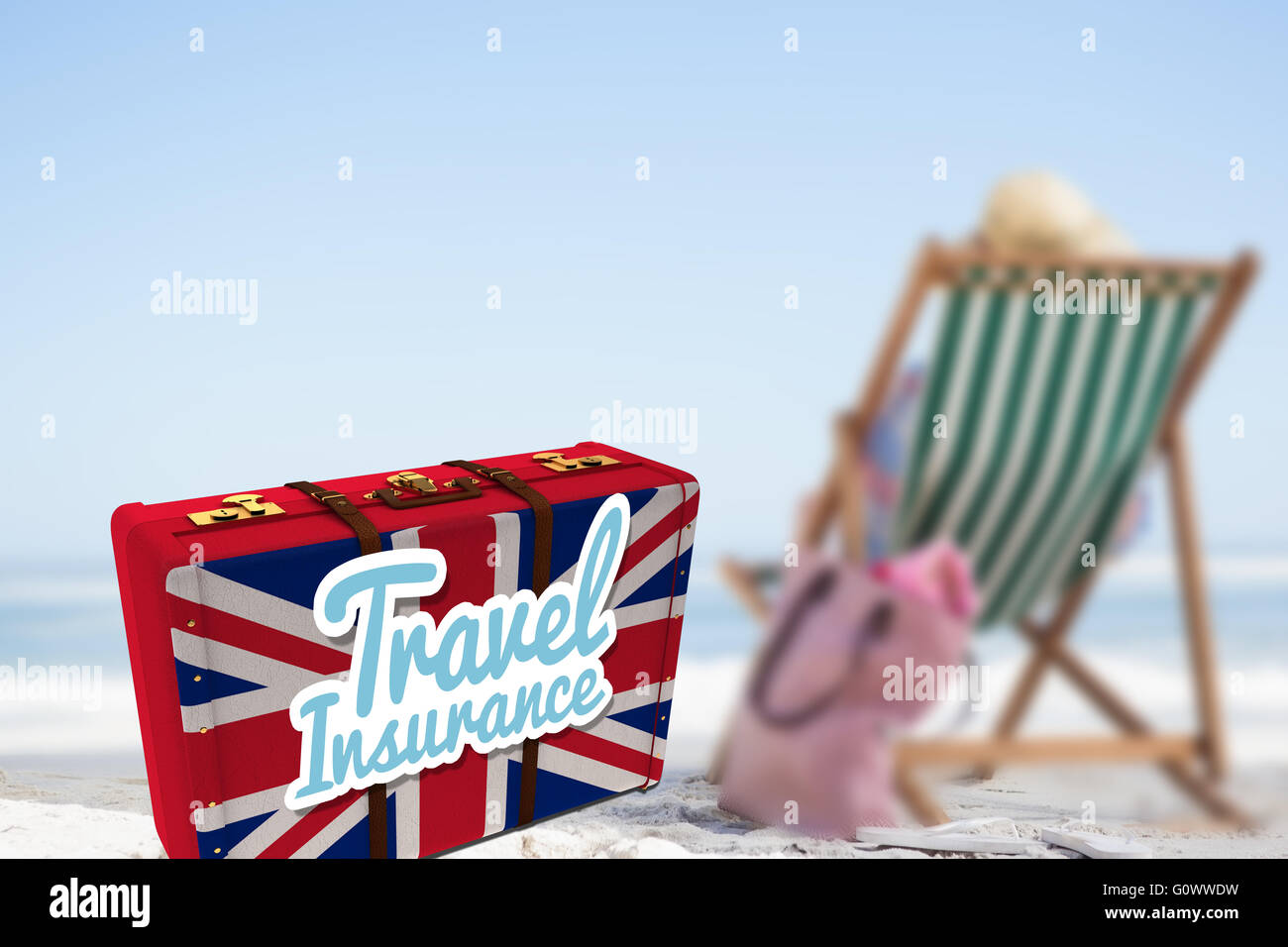 Composite image of travel insurance message on a british suitcase - Stock Image