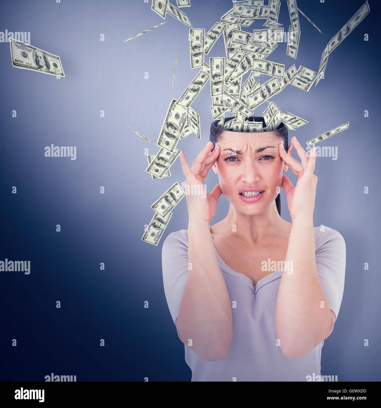 Composite image of brunette suffering from migraine - Stock Image