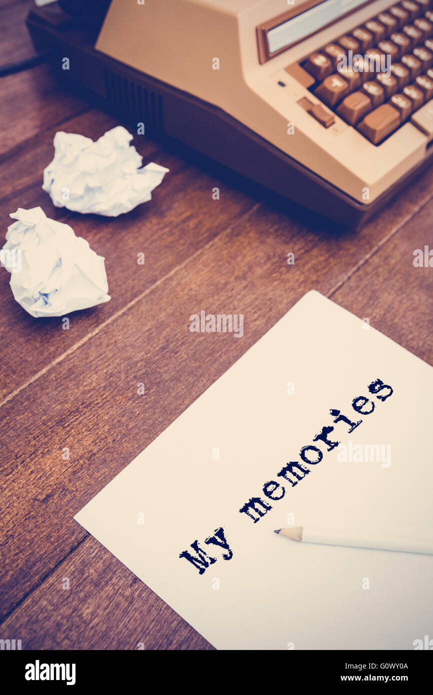 Composite image of the word my memories against white background - Stock Image