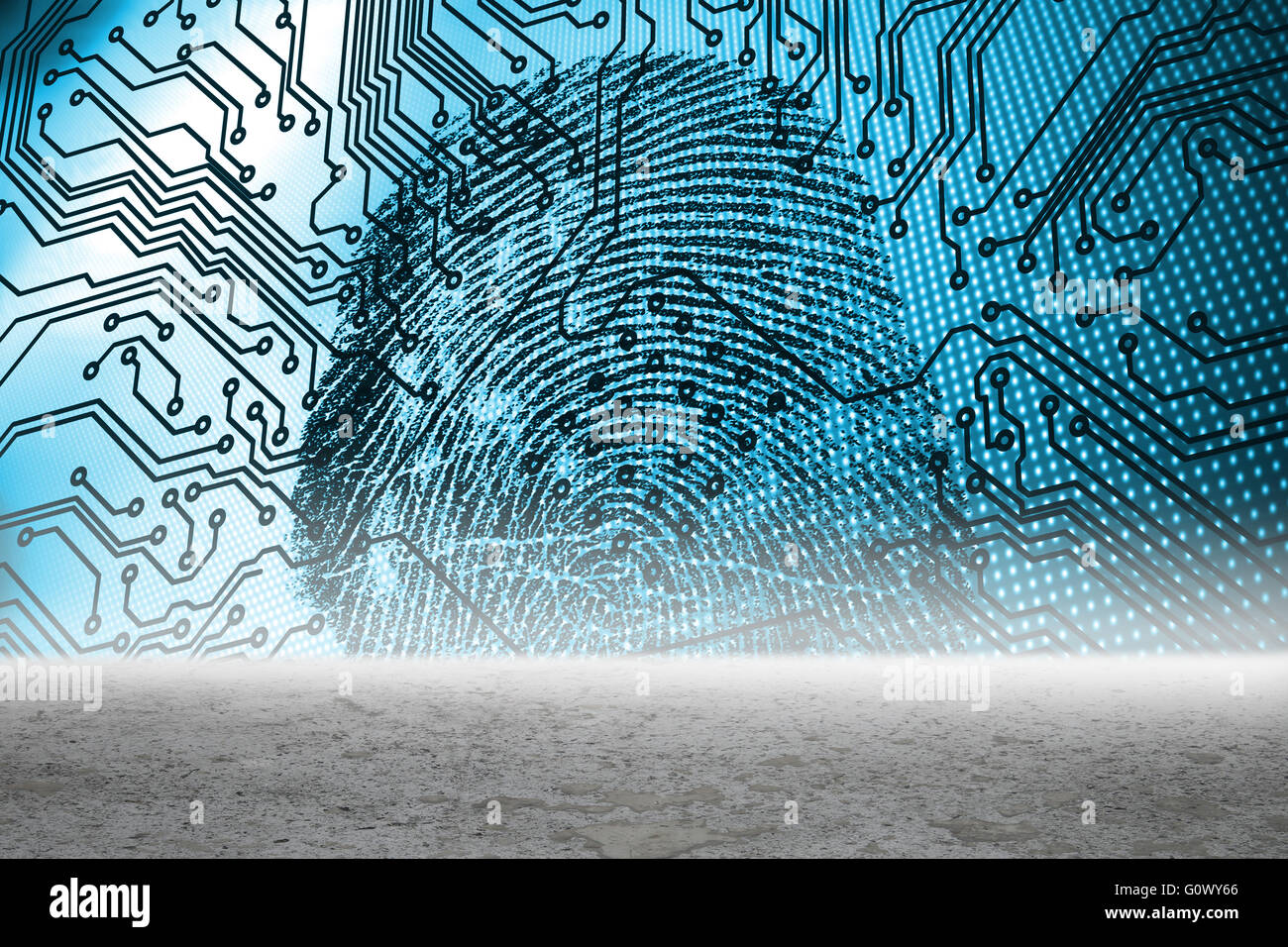 Fingerprint with circuit board graphic Stock Photo: 103832350 - Alamy