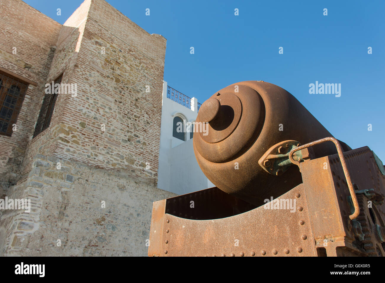 British guns on the walls of the fortress tangeri - Stock Image
