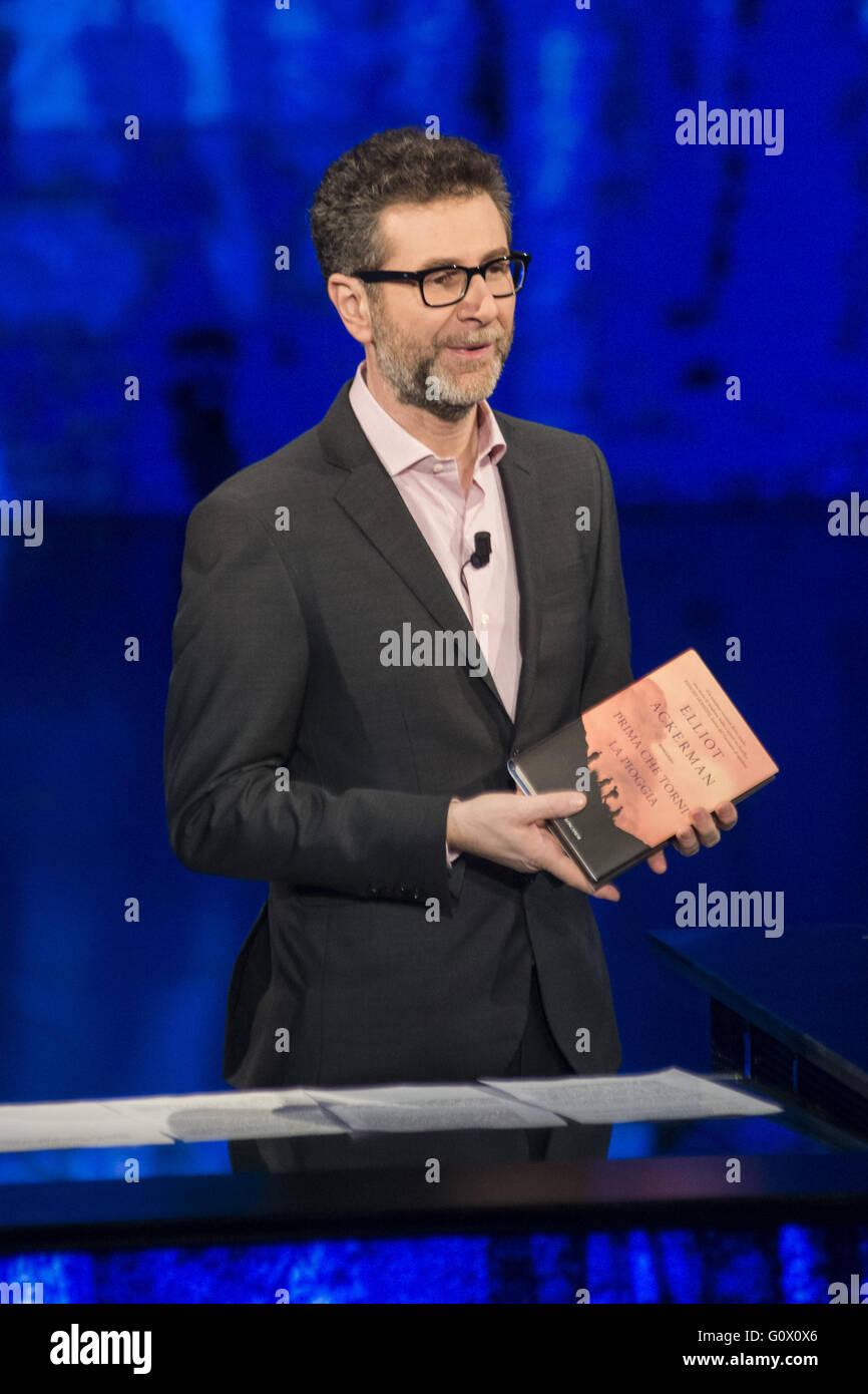 American author Elliot Ackerman appears as a guest on Italian talk show 'Che tempo che fa'  Featuring: Fabio - Stock Image