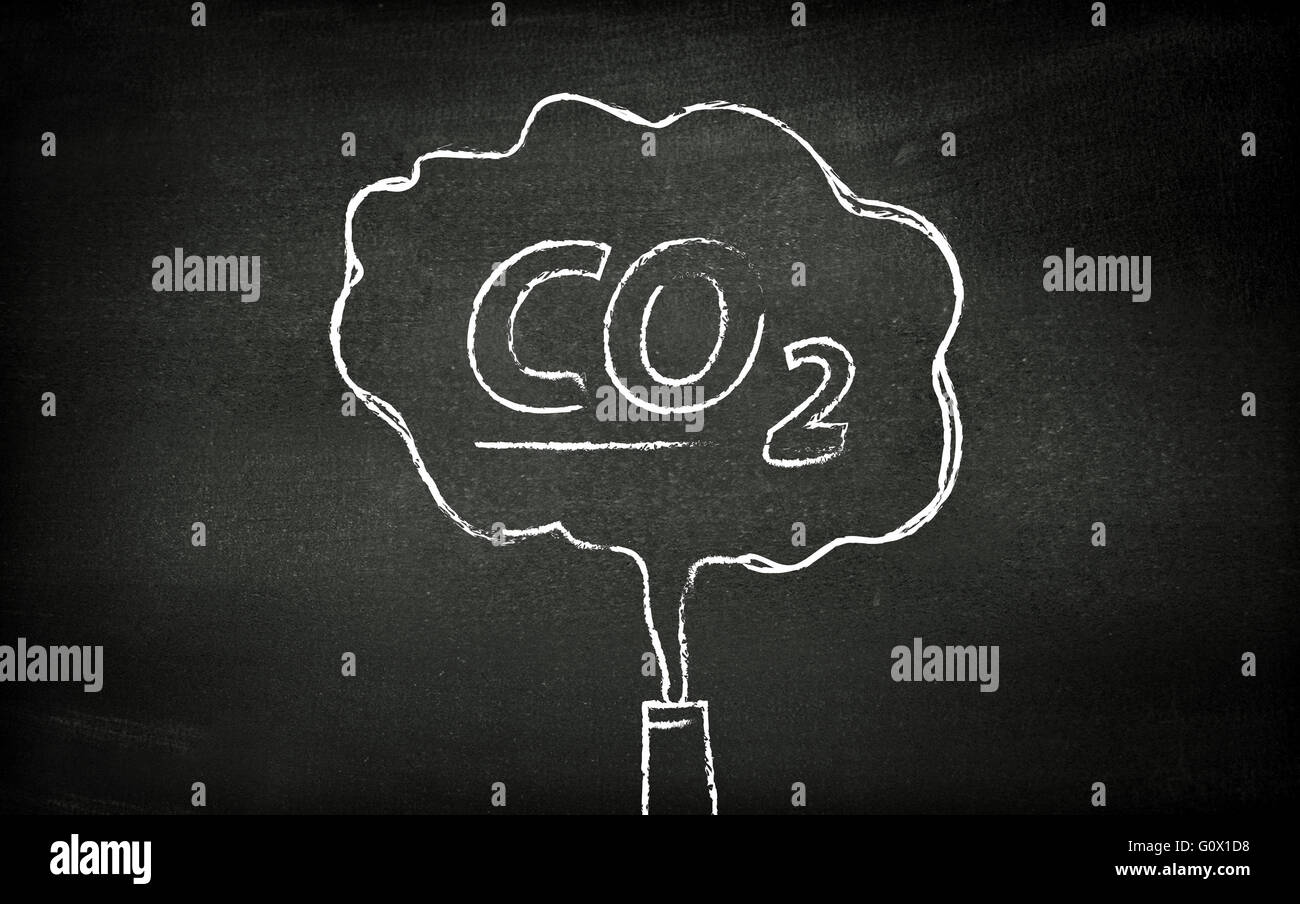 CO2 illustrated on blackboard - Stock Image