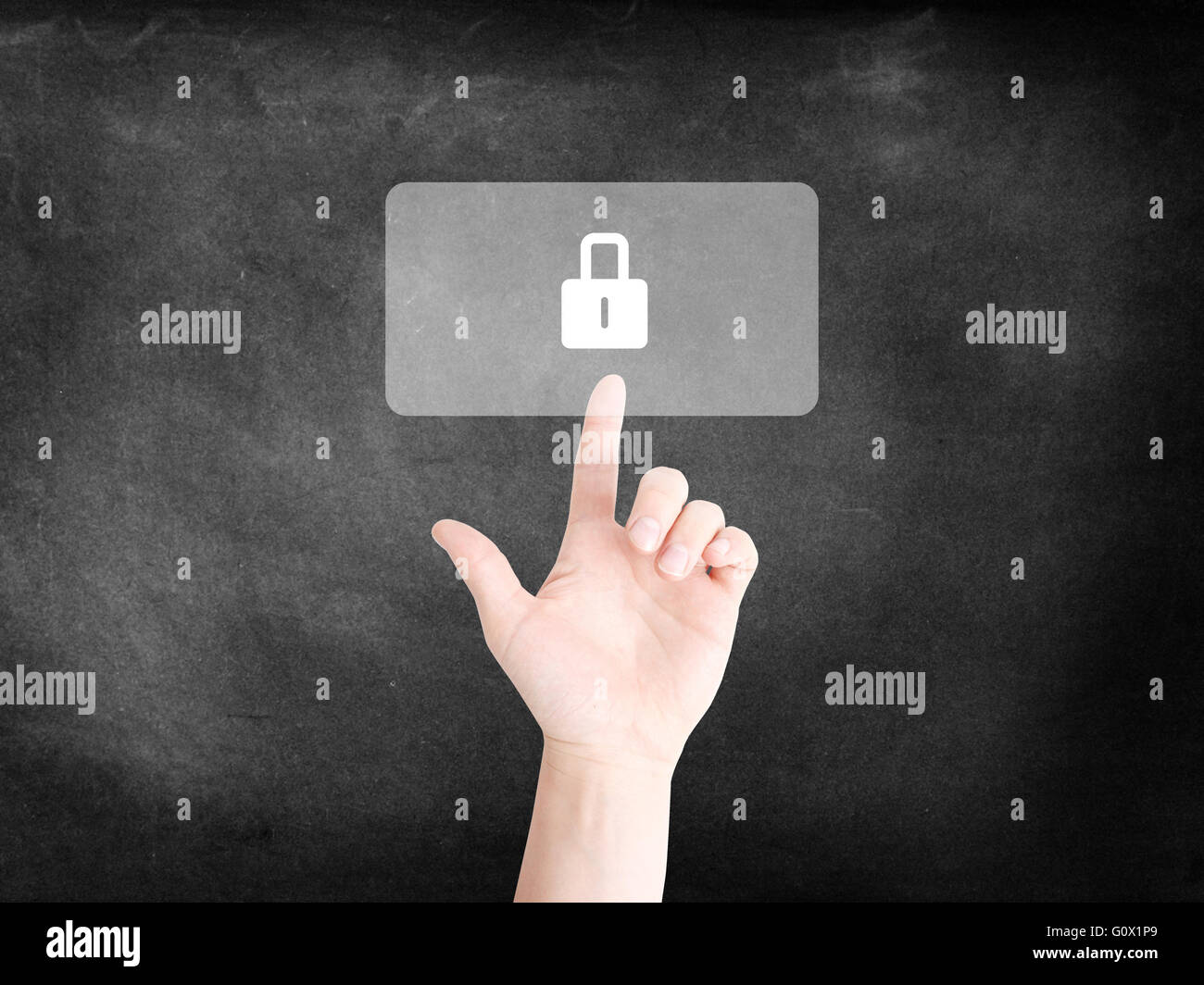 Finger tapping on an icon to symbolize Security - Stock Image
