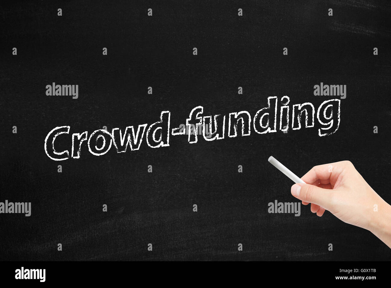 Crowd funding on blackboard - Stock Image