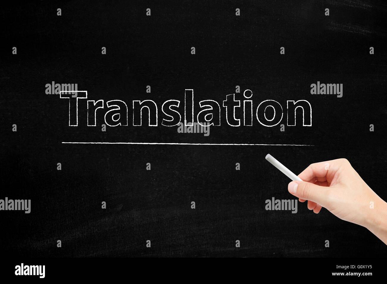 Translation written with chalk - Stock Image