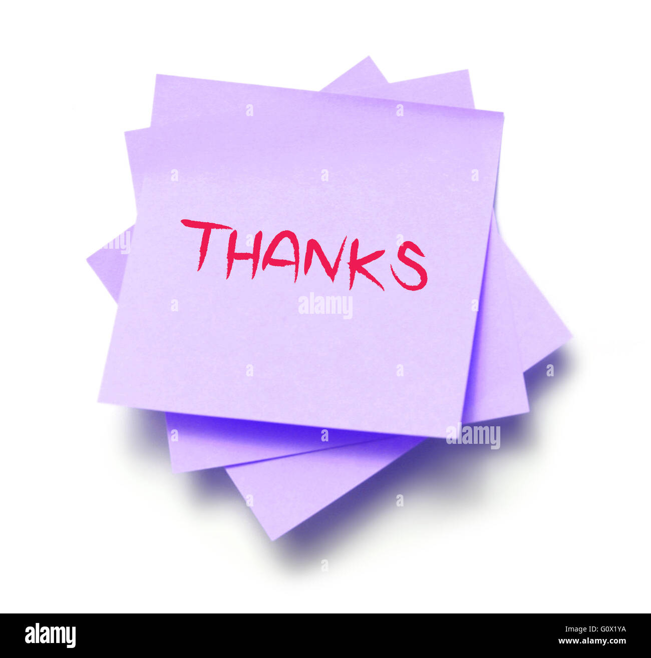 Thanks written on a note - Stock Image