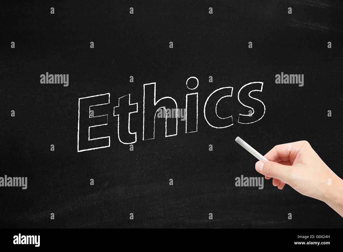 Ethics written on a blackboard Stock Photo