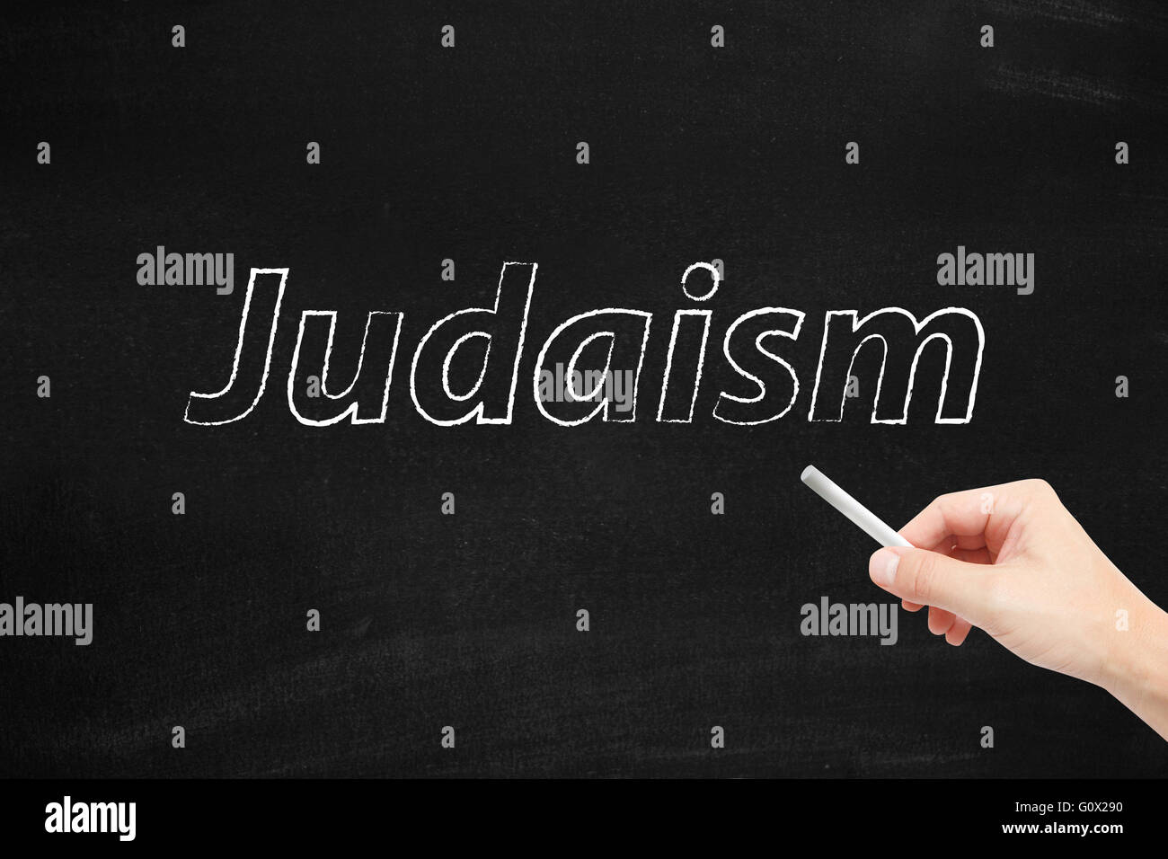 Judaism written on a blackboard Stock Photo