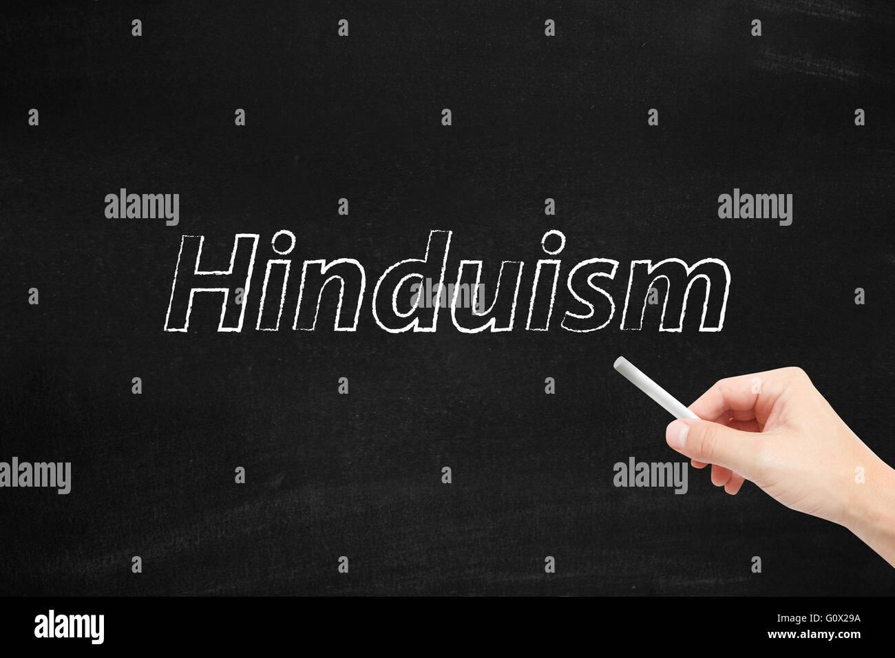 Hinduism written on a blackboard - Stock Image