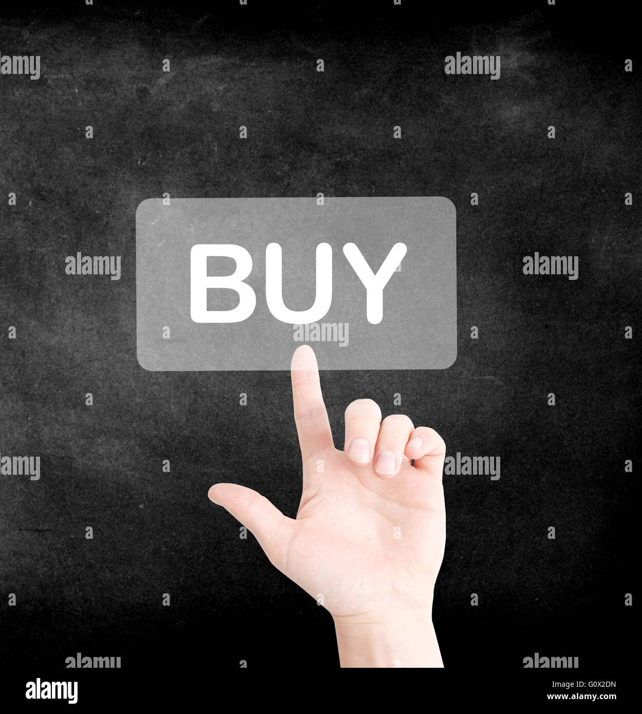 A finger tapping on buy - Stock Image