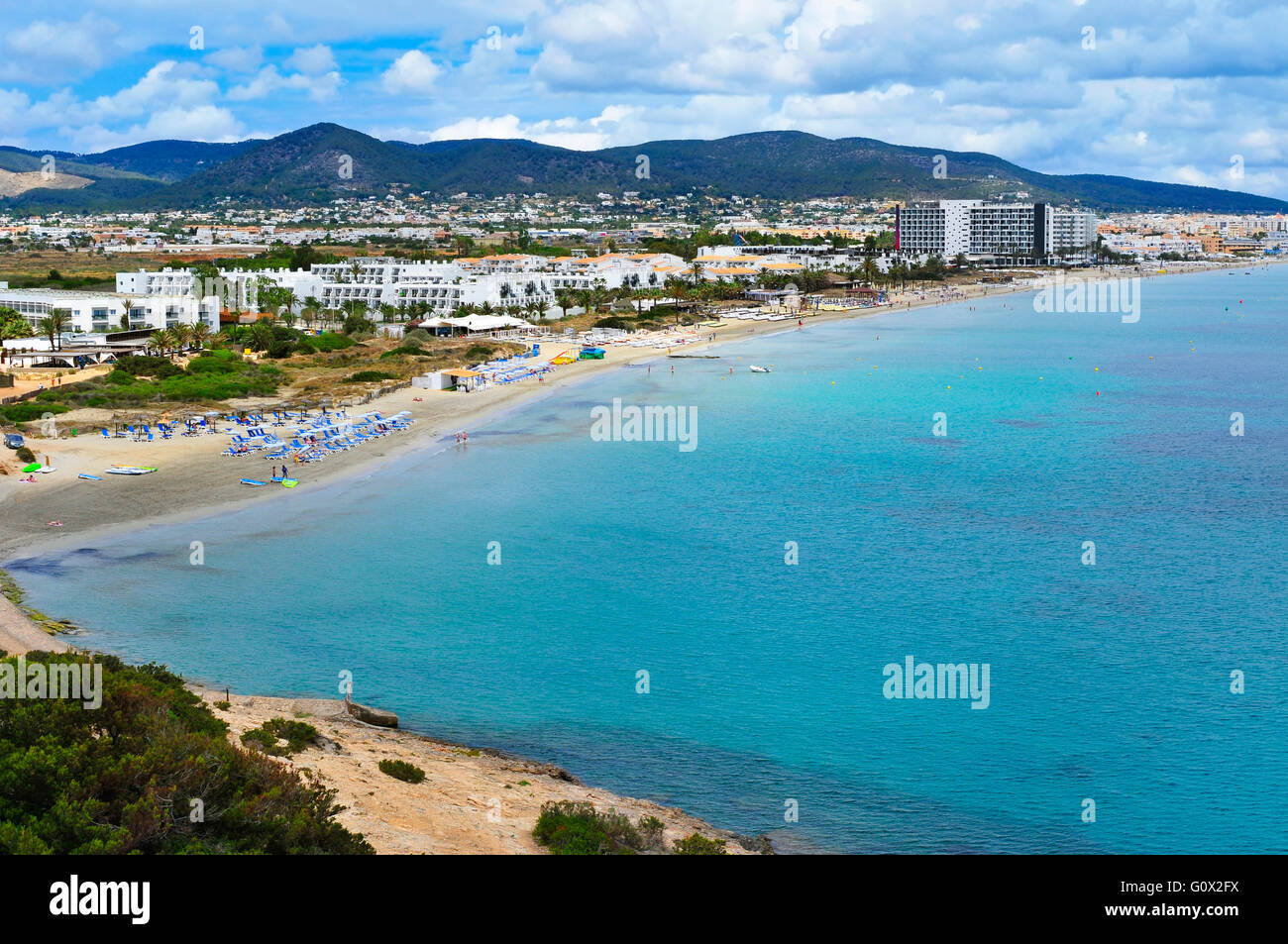 a panoramic view of the Platja den Bossa beach in Ibiza Town, in Ibiza Island, Balearic Islands, Spain - Stock Image