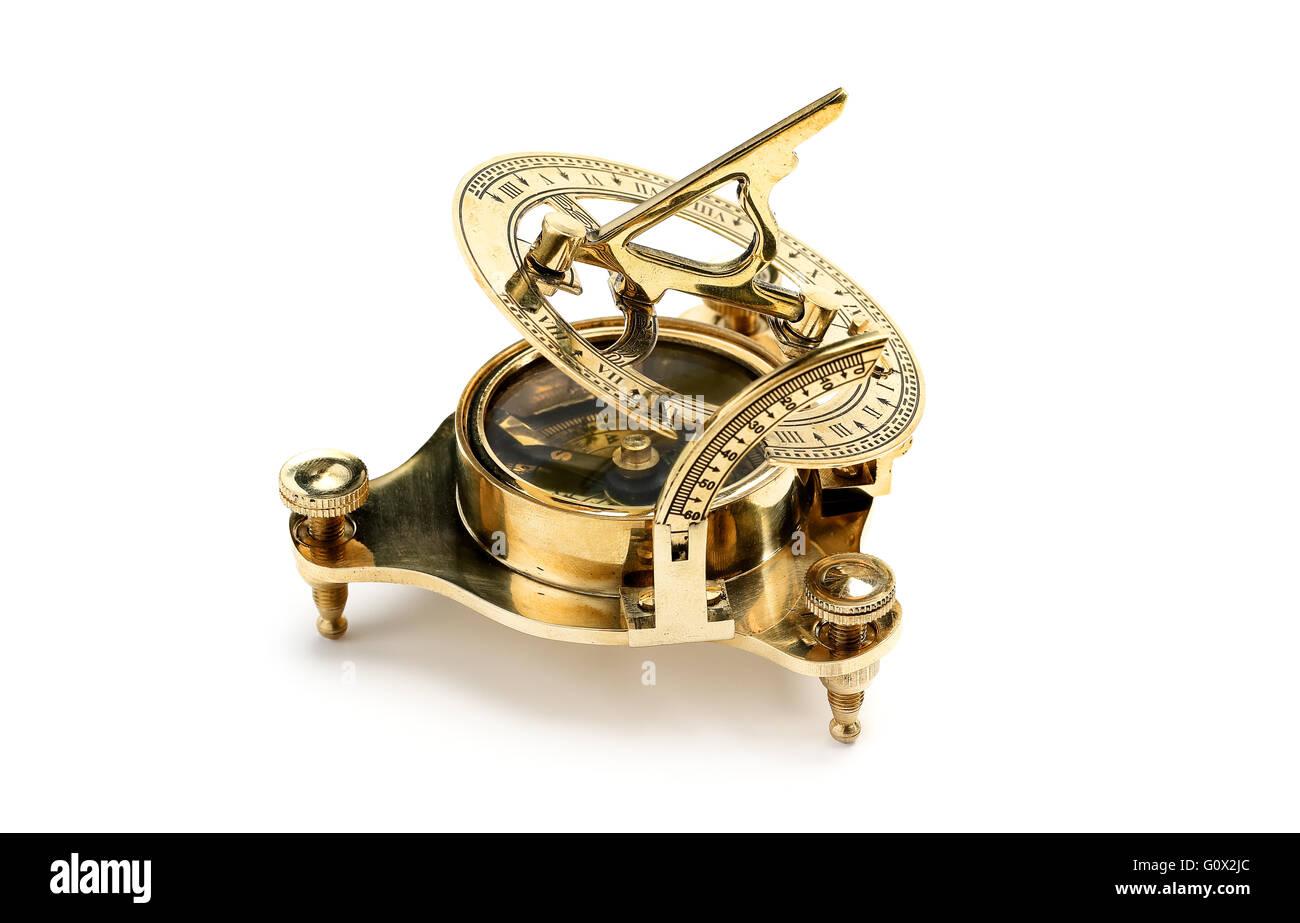 Antique Portable Sundial. Isolated on white background - Stock Image