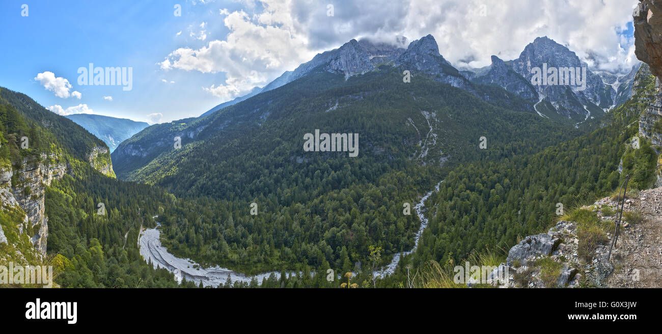 Landscape on the Dolomiti of Brenta Group in a beautiful summer afternoon with clouds over the top, Trentino - Italy - Stock Image