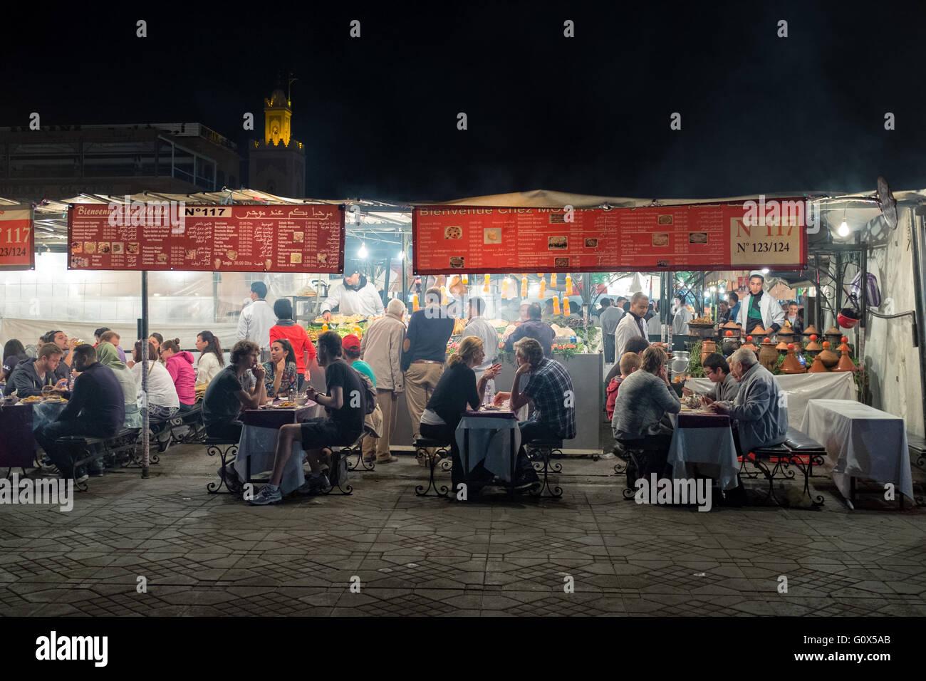 Street restaurants by night, Marrakech, Morocco Stock Photo