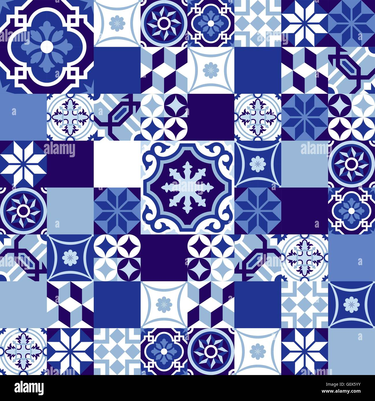 Indigo Vector Vectors Stock Photos The Wetbrush Watercolor Mossaics Starburst Blue Seamless Pattern In Patchwork Style Traditional Ceramic Mosaic Tile Decoration Eps10