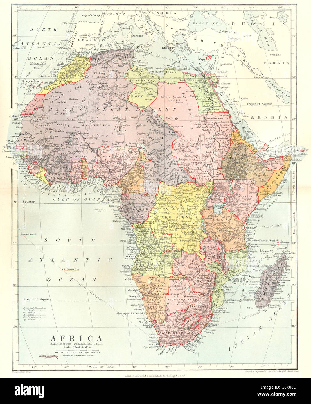 Colonial Africa British French German Italian Portugal Stock Photo