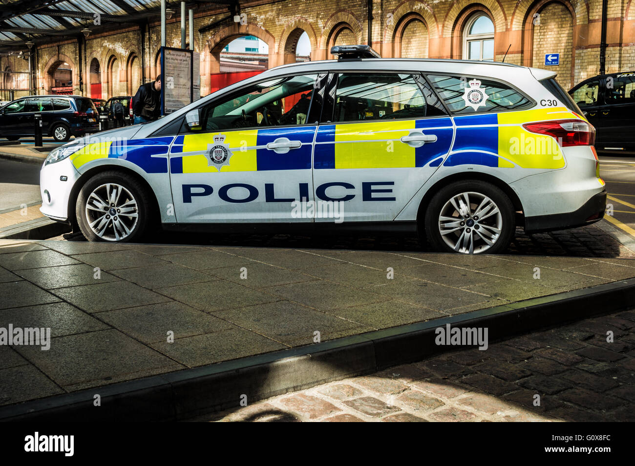 British Transport Police Vehicle at Leicester Station - Stock Image