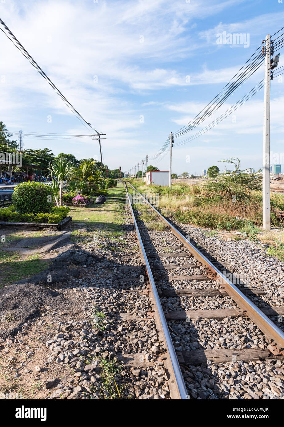 Straight railway line from the junction of urban station. - Stock Image