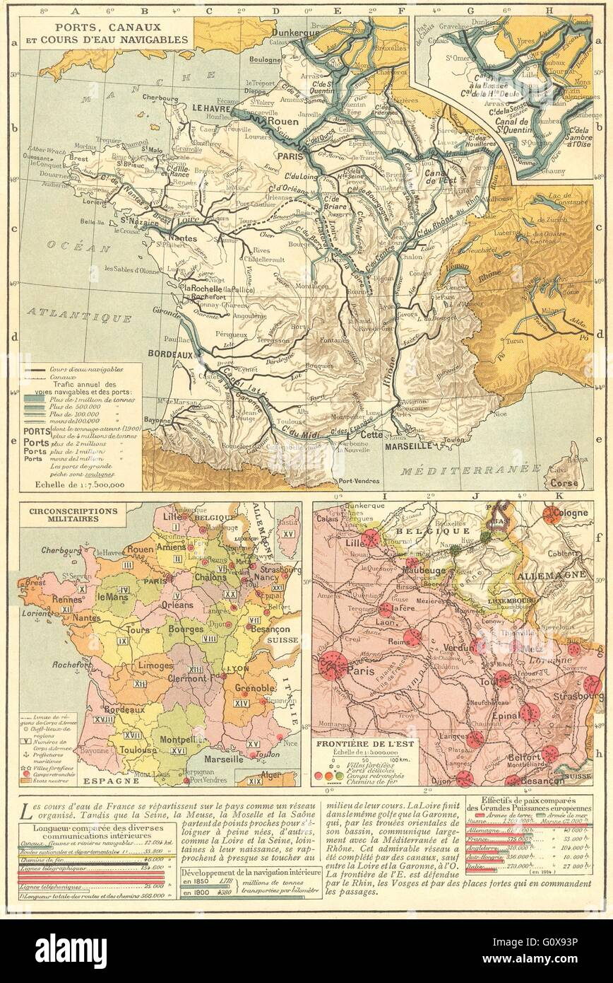 Districts Of France Map.France Waterways Military Districts Eastern Border 1923 Vintage