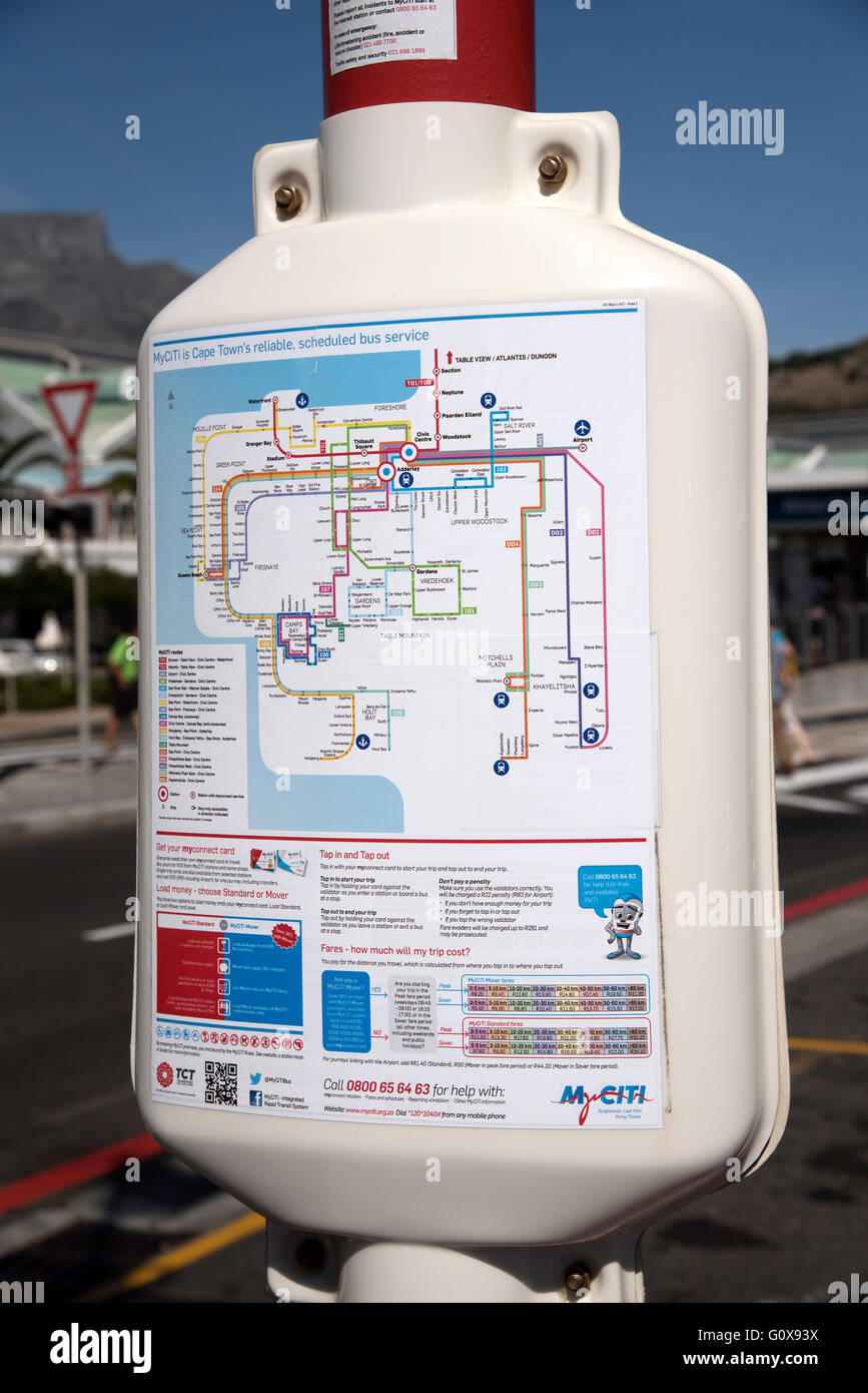 Myciti bus service routes map on a Cape Town signpost - Stock Image