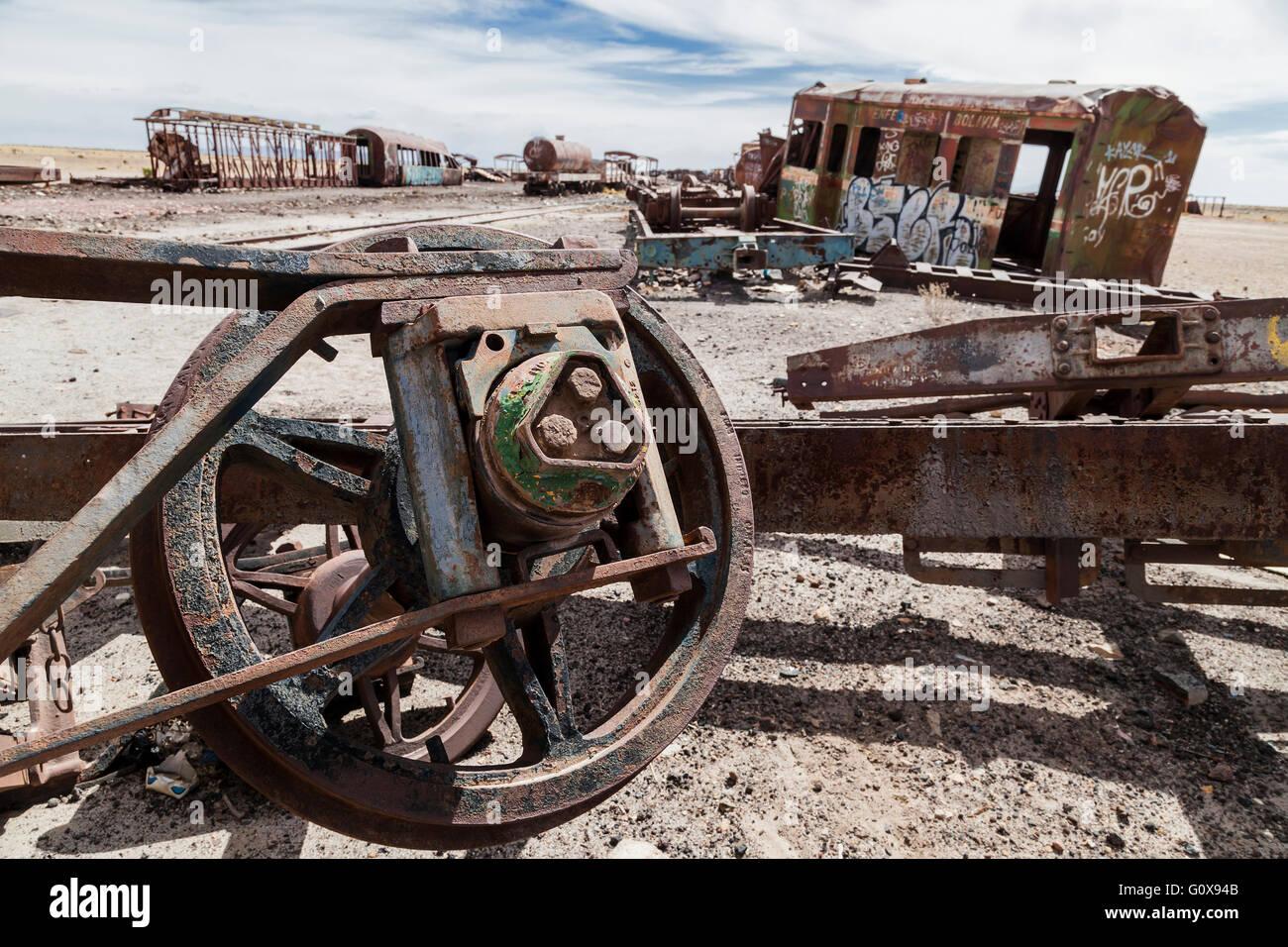 The End of the Line. An abandoned railway engine, Salar de Uyuni, Bolivia, South America. Stock Photo