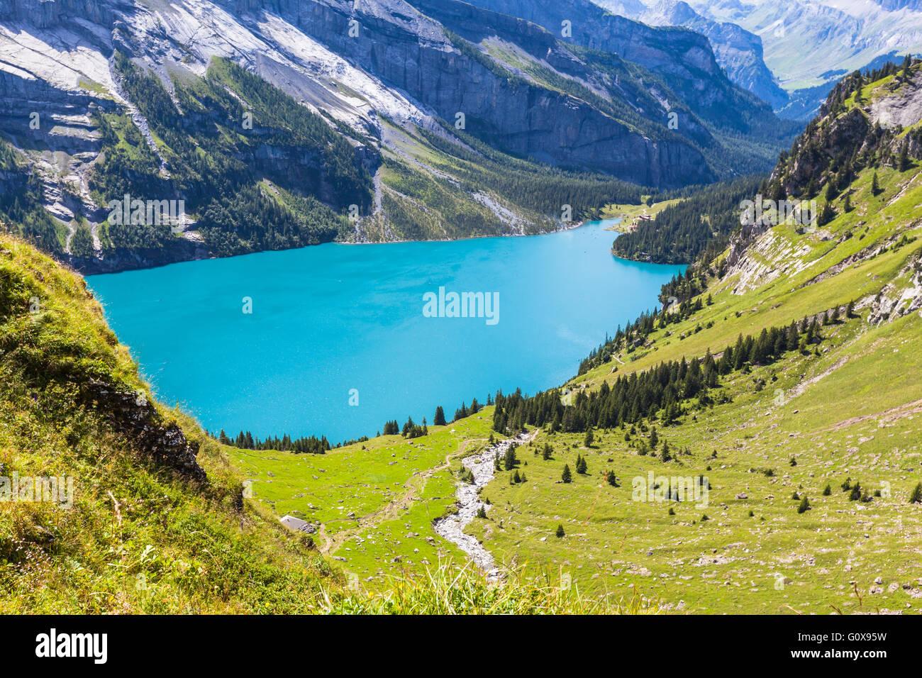 View of the Oeschinensee (Oeschinen lake) near Kandersteg on bernese oberland in Switzerland. - Stock Image
