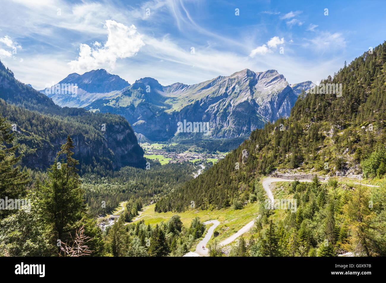 Panorama view of the Alps near Kandersteg on Bernese Oberland in Switzerland - Stock Image