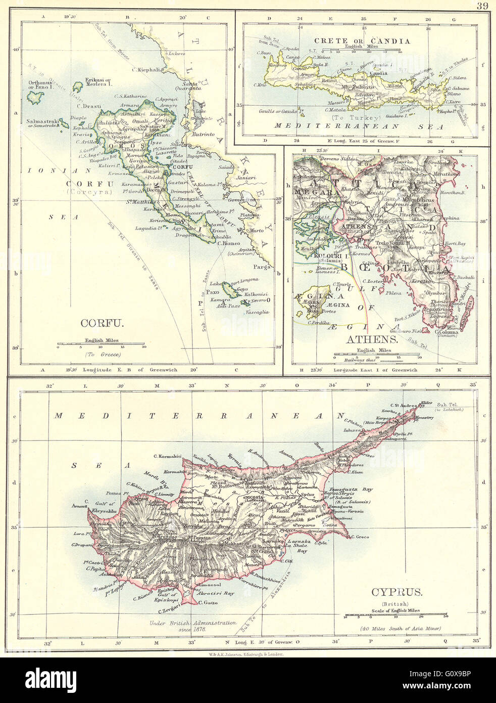 Greece corfu crete or candia athens cyprus 1897 antique map greece corfu crete or candia athens cyprus 1897 antique map gumiabroncs Images