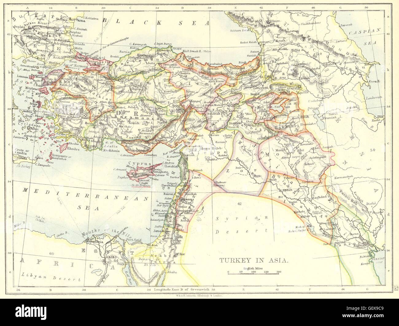 Turkey turkey in asia iraq israel jordan syria iran 1897 stock turkey turkey in asia iraq israel jordan syria iran 1897 antique map gumiabroncs Gallery