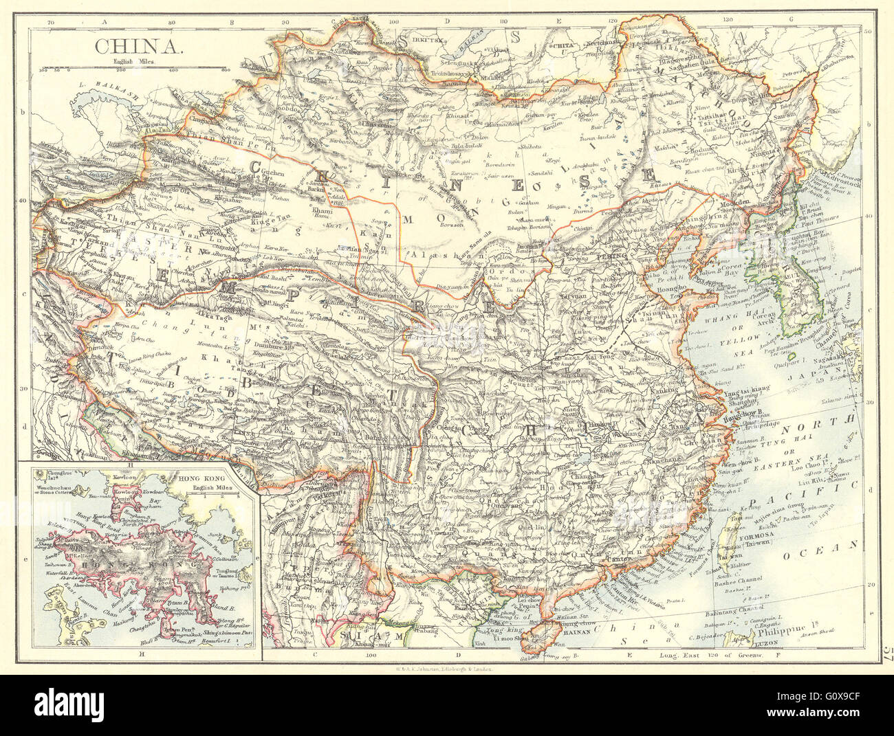 CHINA: China Korea Mongolia; Inset Hong Kong, 1897 antique map - Stock Image