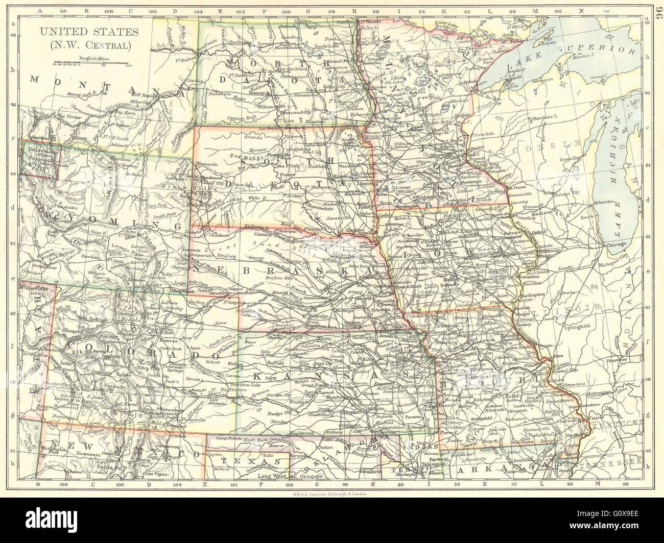 Nw Colorado Map.Usa Nw Central Dakota Wyoming Colorado Kansas Iowa Missouri Stock